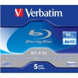 Verbatim BD-R, Dual Layer 50GB, jewel box, 43748, 6x, 5-pack, pr