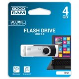 Goodram USB flash disk, 2.0, 4GB, čierny, UTS2-0040K0R11, podpor