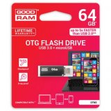 Goodram USB flash disk OTG, 3.0/microUSB, 64GB, OTN3, čierny, OT