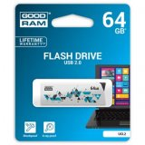Goodram USB flash disk, 2.0, 64GB, UCL2, biely, UCL2-0640W0R11,