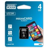Goodram Micro Secure Digital Card + Adapter, 4GB, micro SD, M40A